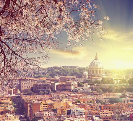 Aerial View of St. Peter's cathedral in Rome, Italy at spring sunset Counter light shot Vintage colored picture Love and travel concept
