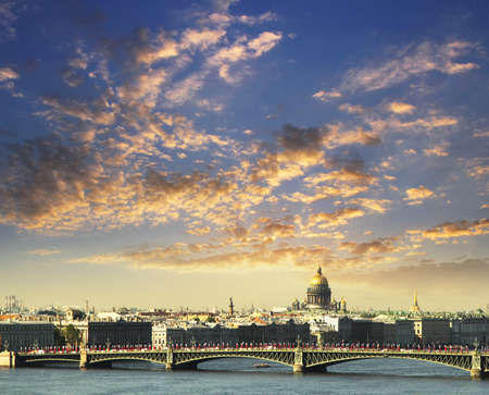 river scape: Neva river scape and the dome of St Isaacs Cathedral in Saint Petersburg, Russia. Travel background