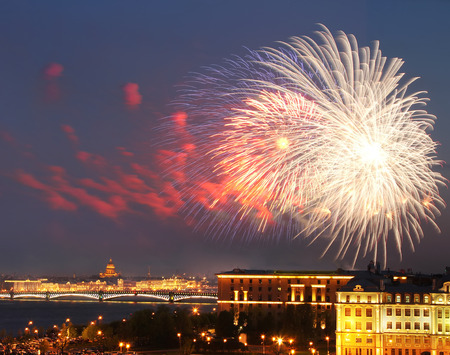 river scape: fireworks over Neva river scape. Saint Petersburg, Russia. Travel background Stock Photo