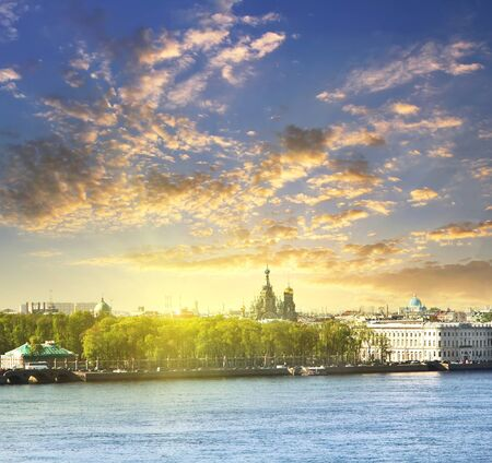 river scape: Neva river scape and the Church of the Savior on Spilled Blood (Cathedral of the Resurrection of Christ) in St. Petersburg, Russia. Travel background