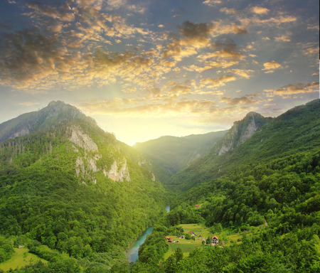 Mountains of Tara river in Montenegro at summer sunset. Travel background Stock Photo