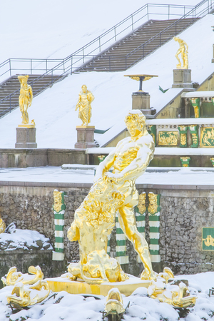 Fragment of Grand Cascade and Samson fountain in Lower Park Peterhof in winter period. Saint Petersburg, Russia