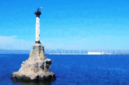 abstract polygonal Illustration of monument to scuttled ships. Symbol of Sevastopol. Crimea