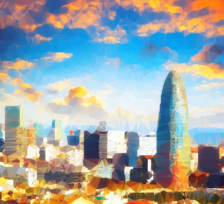 Vintage colored abstract polygonal Illustration of Barcelona at sunset 版權商用圖片 - 77538192