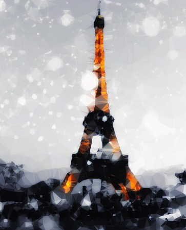 Vintage colored abstract polygonal Illustration of Eiffel tower in Paris, France at winter.