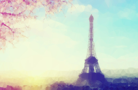 Vintage colored abstract polygonal Illustration of Eiffel tower in Paris, France at spring  sunset