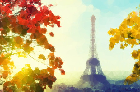 Vintage colored abstract polygonal Illustration of Eiffel tower in Paris, France at fall sunset.