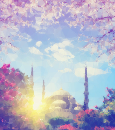 Abstract polygonal Illustration of blue mosque at spring sunrise, Istanbul. Travel concept