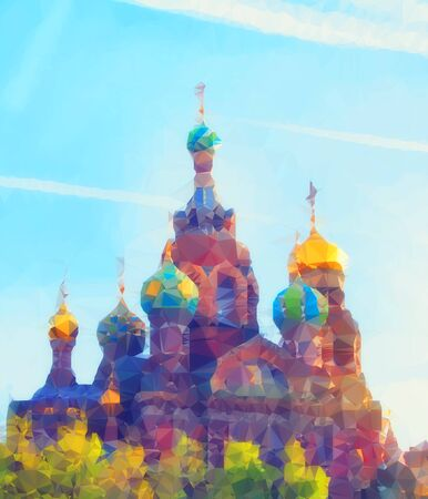 abstract polygonal Illustration of Church of the Savior on Spilled Blood (Cathedral of the Resurrection of Christ) in St. Petersburg, Russia
