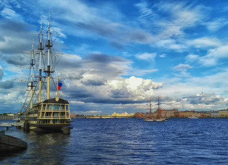 Frigates on the Neva river, St. Petersburg, Russia. Travel background.