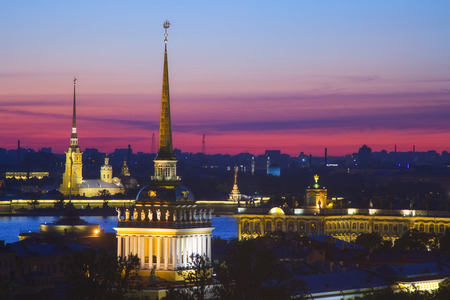 White night in Saint Petersburg, Russia. Travel and Business background. Admiralty, Peter and Paul Fortress and Winter Palace at summer. View from St. Isaac's Cathedral. Zdjęcie Seryjne - 93399525