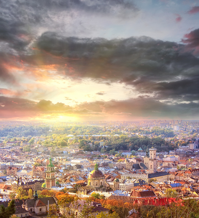aerial view of Lviv, Ukraine, at season sunset. travel background 版權商用圖片