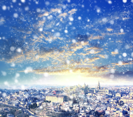 First snow in Toledo, winter in Spain. X-mas, Business, Love and travel concept Zdjęcie Seryjne