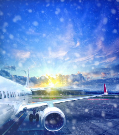 airplane taking off from the airport in winter. fragment of the body of aircraft. business travel concept Zdjęcie Seryjne - 93399228