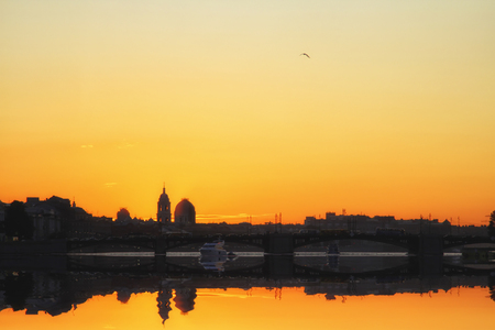 Evening in Saint Petersburg, Russia. Silhouette of Basil island perspective. Travel and Business background. Zdjęcie Seryjne - 93399210