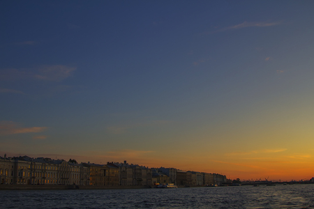Classic view of Saint-Petersburg (St.Petersburg) river scape at sunset. Neva River. Winter palace. Travel background