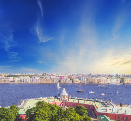 panoramic view of Saint-Petersburg (St.Petersburg) river scape at sunset. Spit of Vasilyevsky Island. Neva River. winter palace. Travel background
