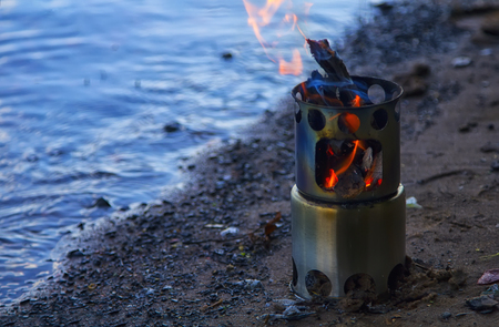 Camping Stove. Outdoor equipment. Ecology concept Zdjęcie Seryjne - 109237016