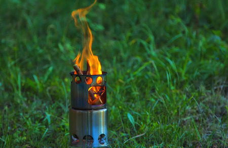 Camping Stove. Outdoor equipment. Ecology concept Zdjęcie Seryjne