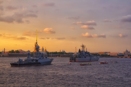 St. Petersburg. Russia. Warships at Neva river at beautiful sunset. Holiday of the Russian Navy 2018