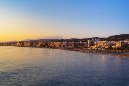 Panorama of Retimno, Crete, Greece at sunrise. Travel background