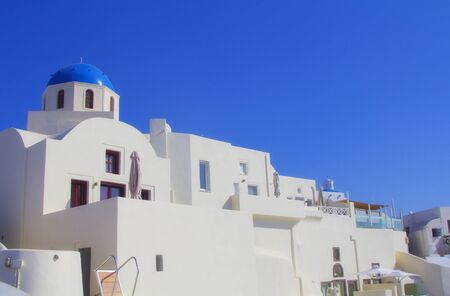 Blue and white colors of Oia City, Santorini, Greece