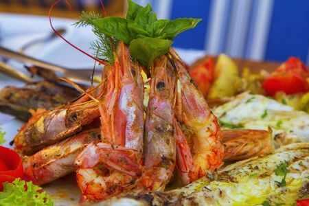 grilled tiger prawns on the plate