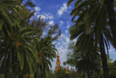 gardens of Seville, Spain. Palm trees and royal palace on the background