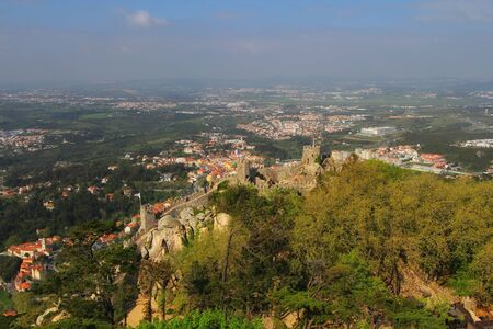 Aerial view of beautiful panorama of Castelo Dos Mouros, Sintra, Portugal Фото со стока