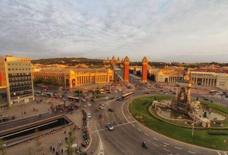 Aerial view of Barcelona, Spain. Plaza de Espana at spring