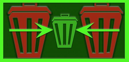 Abstract illustration of waste reduce. Trash cans in papercut style. Ecological concept