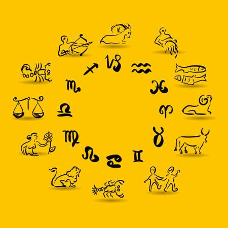Zodiac icons. Vector illustration. Illustration