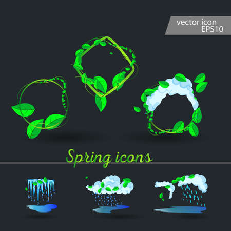 Set of spring icons Cloud, rain, puddles