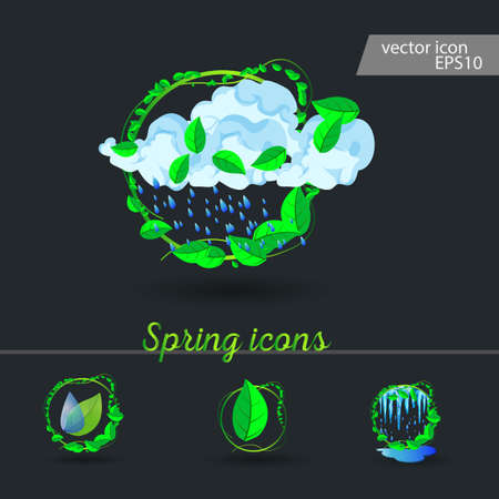 set of spring icons Cloud, rain, puddles, drops under the green leaves
