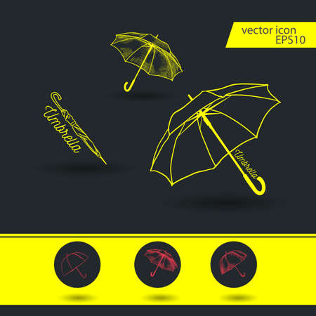 umbrella vector icon. Set of Umbrella sign icon. Rain protection symbol.