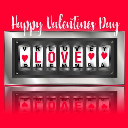 valentineday: Love wins, slot machine. Vector. Slot machine Valentines day