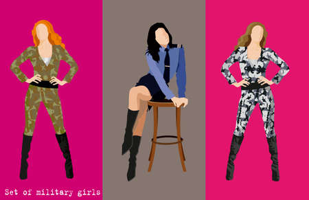 work clothes: Set of military girls. Vector illustration Illustration