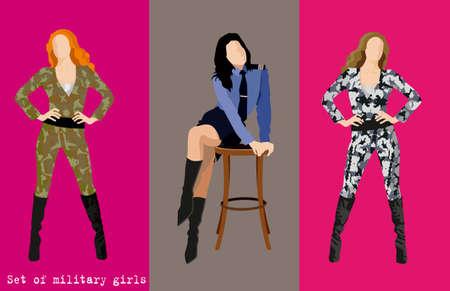 Set of military girls. Vector illustration Illustration