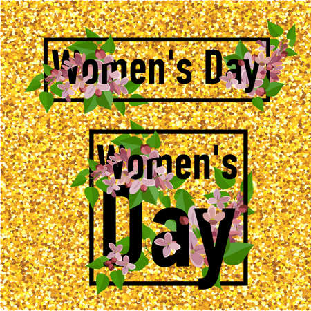 8 March greeting card. Template for International Womens Day with gold glitter numeral 8. Ideal for invitations, posters, cards, banners, flyers, postcards etc.