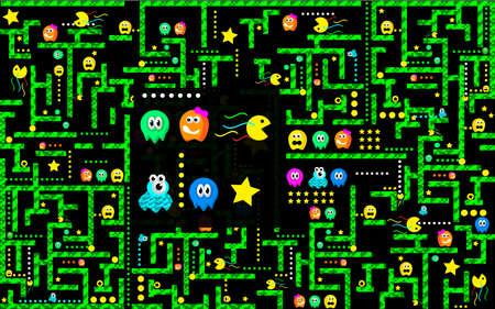 Ghosts monster racing. Arcade game icon. Retro game design. Illustration
