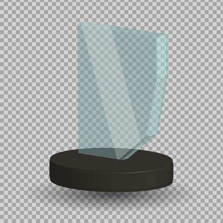 Empty glass trophy awards vector. Glossy transparent trophy for award illustration