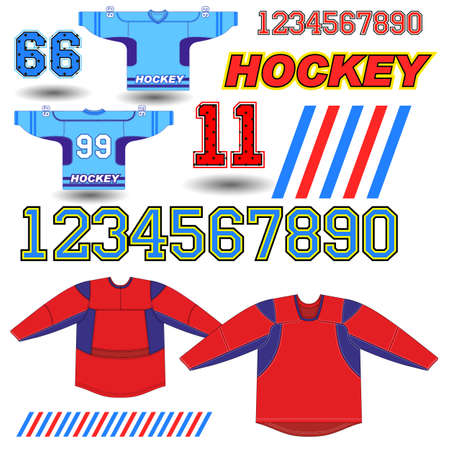 playoff: A vector illustration of a blue and red hockey Jersey with yellow accents and number 99.
