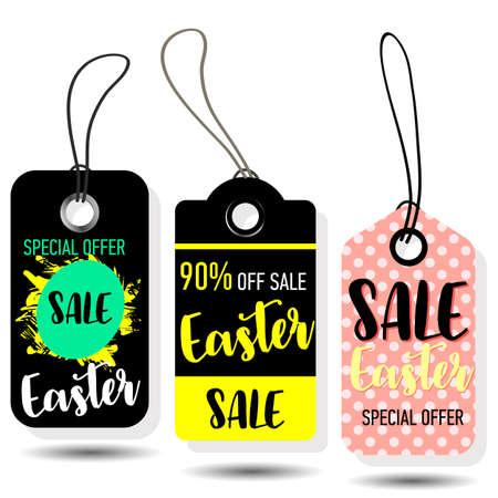 Happy Easter sale tags. Holiday labels set. Hand drawn sketch vintage vector illustrations. Illustration