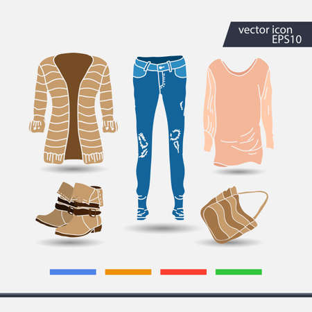 Set of womens clothes and accessories icons.