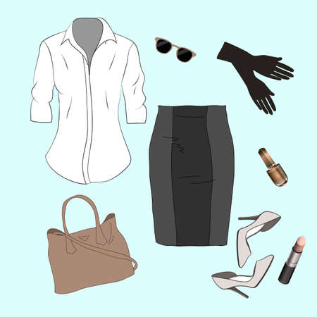 footwear: Set of trendy womens clothes. Outfit of woman jacket, skirt, shirt and accessories. Womens wardrobe. Vector illustration