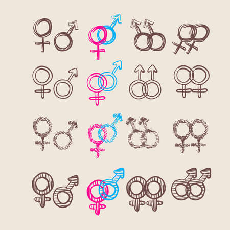 Male and female symbol set . Vector