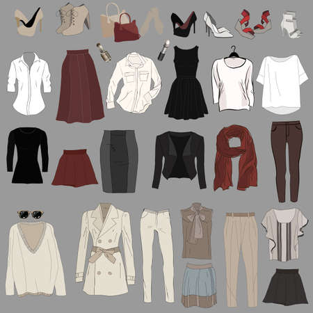 Set of trendy womens clothes. Outfit of woman jacket, Banco de Imagens - 76568730