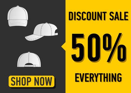 sported: Fashion summer web banner. Sale banner design template white baseball cap vector illustration.