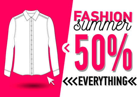 Fashion summer web banner. Sale banner design template with a white blouse vector illustration. Illustration