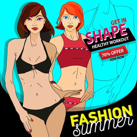 Vector illustrative hero banner of healthy lifestyle, fitness and workout. Fashion summer web banner. Sale banner design template Illustration